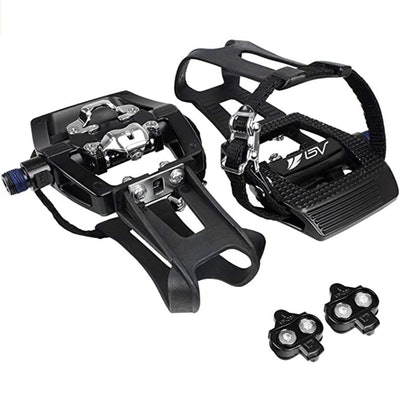 BV Bike SPD Pedals With Toe Clips