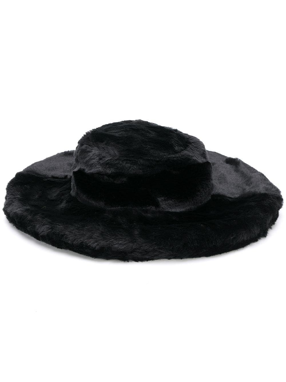faux fur wide brim hat