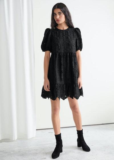 Puff Sleeve Jacquard Mini Dress