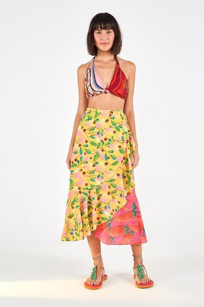 Farm Rio Garden Mix Wrap Skirt