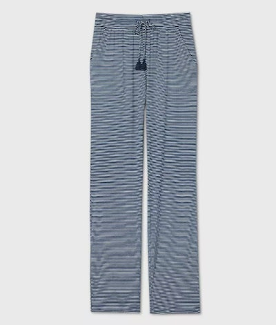 Stars Above, Women's Long Length Striped Beautifully Soft Pajama Pants in Navy