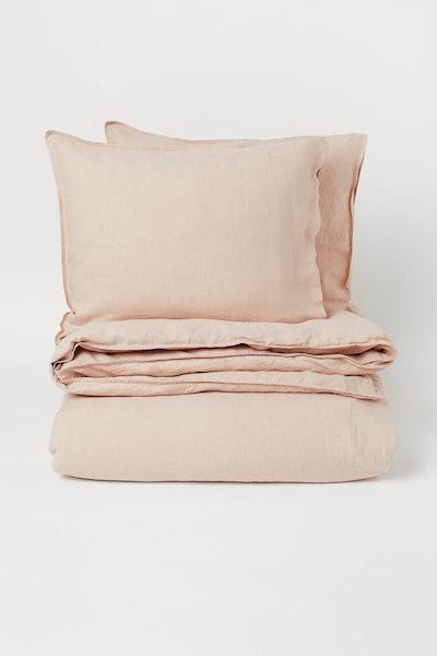 Washed linen duvet cover set