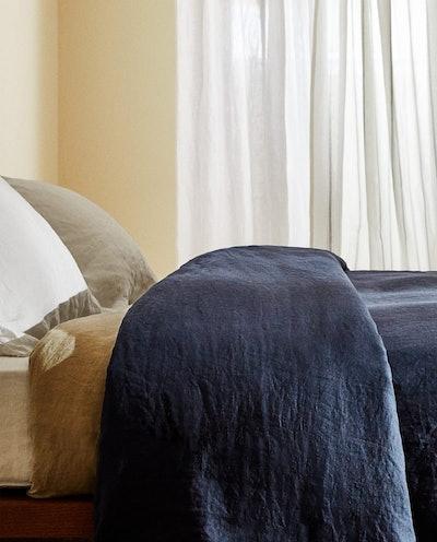Navy Washed Linen Duvet Set
