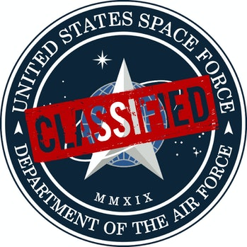 """U.S Space Force logo with red """"Classified"""" stamp"""