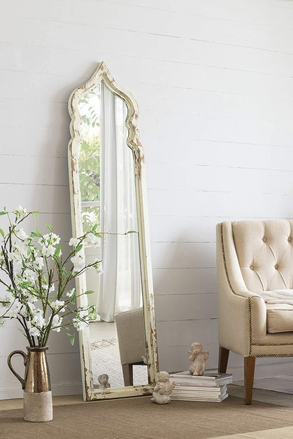 Oversized Antique Wall Mirror with Arch