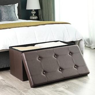 SONGMICS Faux Leather Storage Ottoman