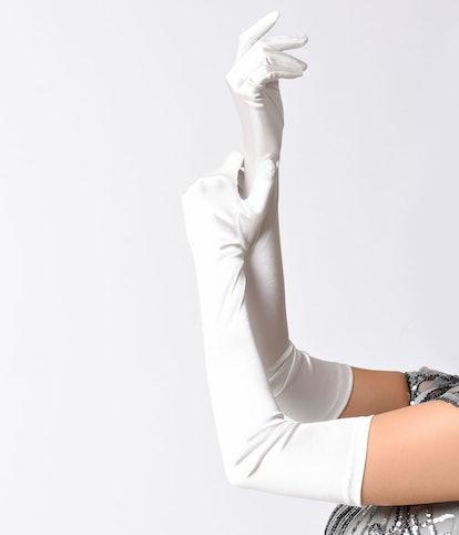 Unique Vintage Ivory Satin 23'' Opera Length Gloves