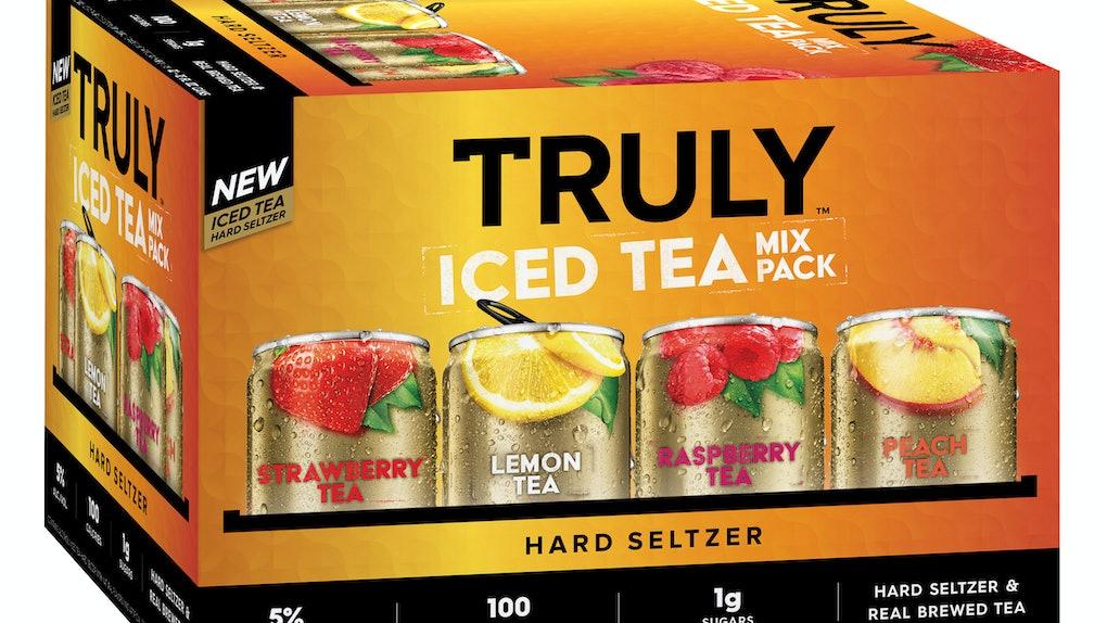 Truly's Iced Tea Hard Seltzer features real tea and seltzer.