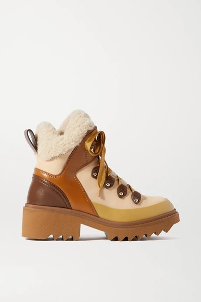 Shearling And Rubber-Trimmed Leather Ankle Boots