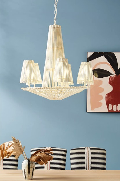 Anthropologie's Winter Tag Sale includes this rattan chandelier