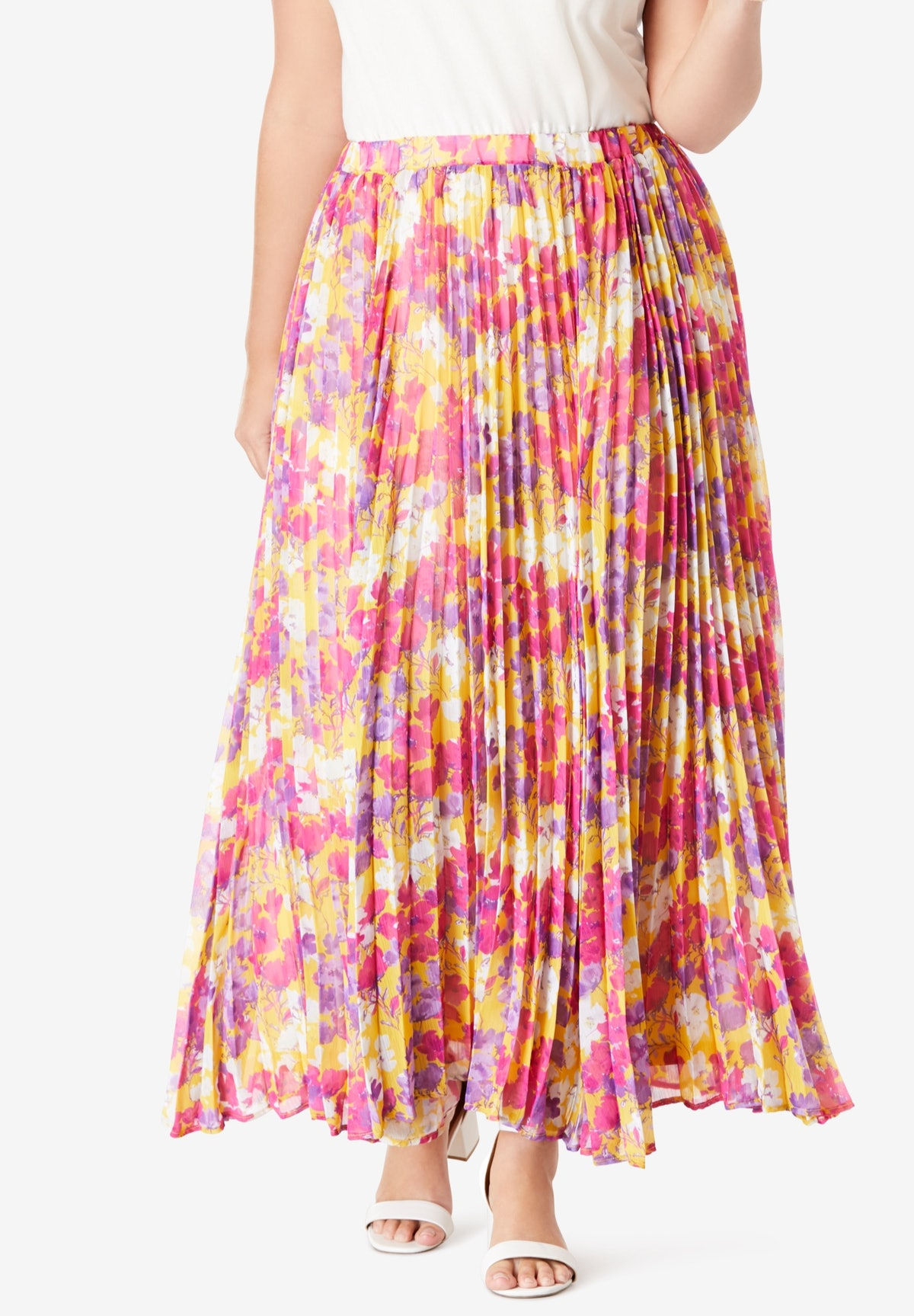 Woman Within Pleated Maxi Skirt
