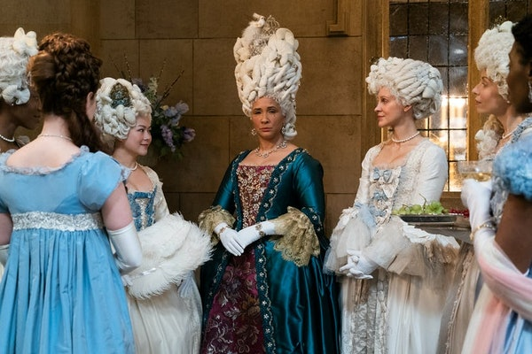 """Queen Charlotte and her ladies in waiting at a party in episode eight of """"Bridgerton."""""""