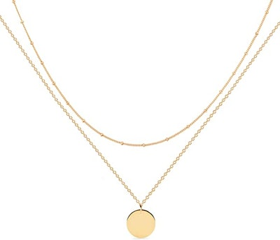 Mevecco Handmade Layered Heart Necklace Pendant (18k Gold Plated)