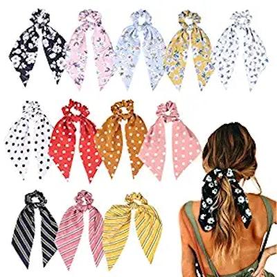 Aileam Hair Scarf Scrunchies (12-Pack)