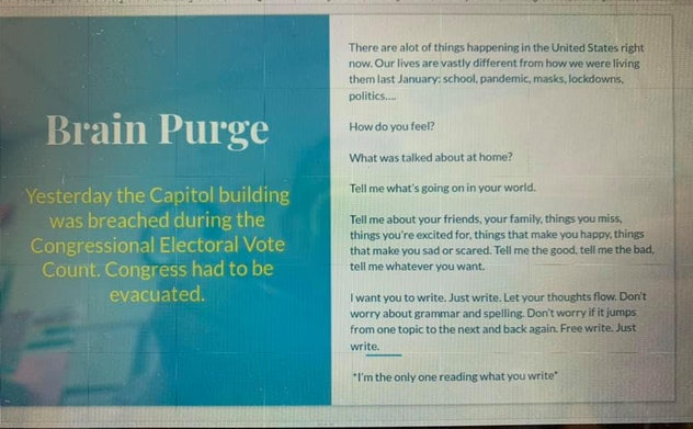 """An image of the slide with a writing prompt titled """"Brain Purge"""" Rachel presented to her students."""