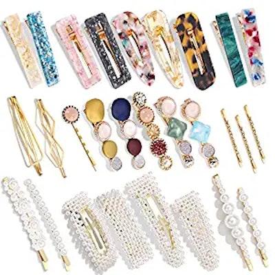 Magicsky Hingwah Pearls and Acrylic Resin Hair Clips (28-Pack)