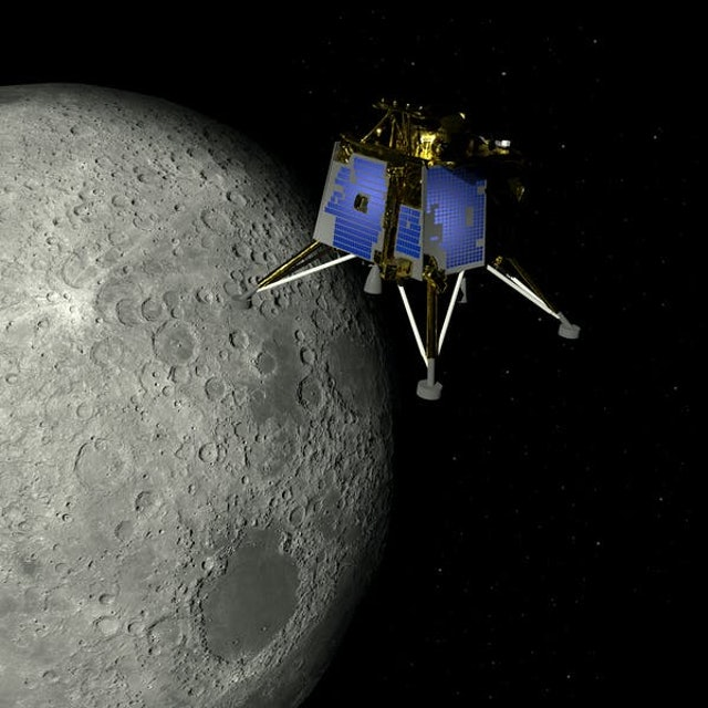 Artist depiction of the the Chandrayaan-2 lunar mission from India.