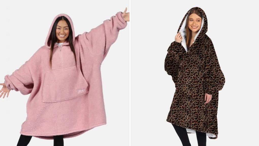 Two women wear The Comfy sweatshirt that looks like a cozy, oversized blanket.