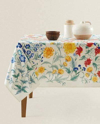 Floral Print Cotton Table Cloth