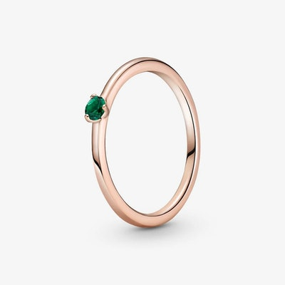 Pandora's Green Solitaire Ring
