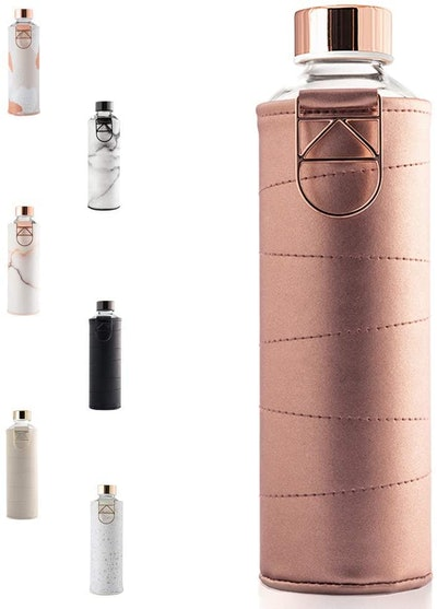 EQUA Glass Water Bottle With Faux Leather Sleeve (25 ounces)