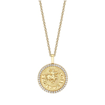 SAGITTARIUS ZODIAC COIN PENDANT WITH DIAMOND FRAME