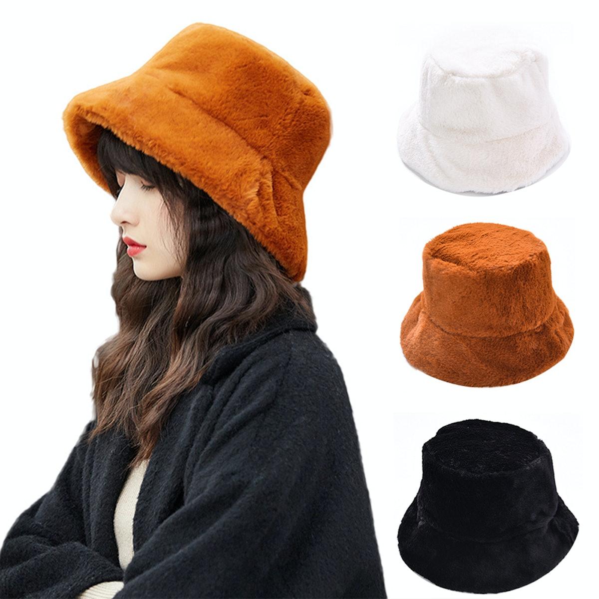 Spring Park Chic Women's Winter Solid Color Plushy Faux Fur Wide Brim Thick Warm Bucket Cap Fish Hat