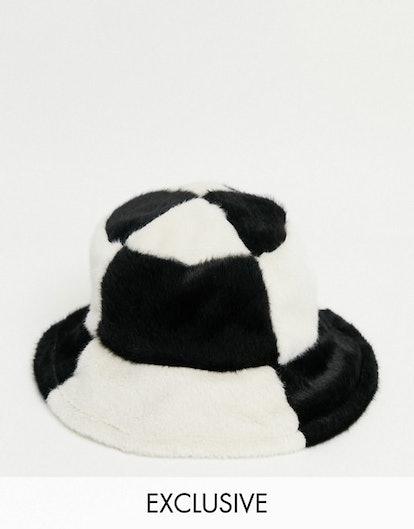 Reclaimed Vintage Inspired Unisex Bucket Hat in Patchwork Faux Fur