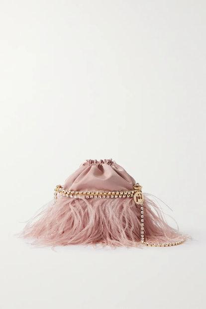 Josephine feather and crystal-embellished twill shoulder bag