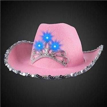 LED Pink Felt Cowboy Hat