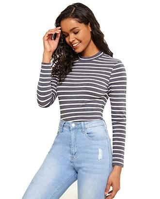 Floerns High-Neck Slim-Fit Shirt