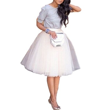 Calsunbaby Women's Tutu Tulle A line Skirts Short Prom Party Knee Length Petticoat Dress