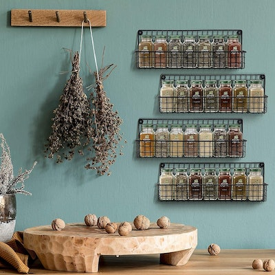 Farmhouse Style Hanging Spice Racks (4-Pack)