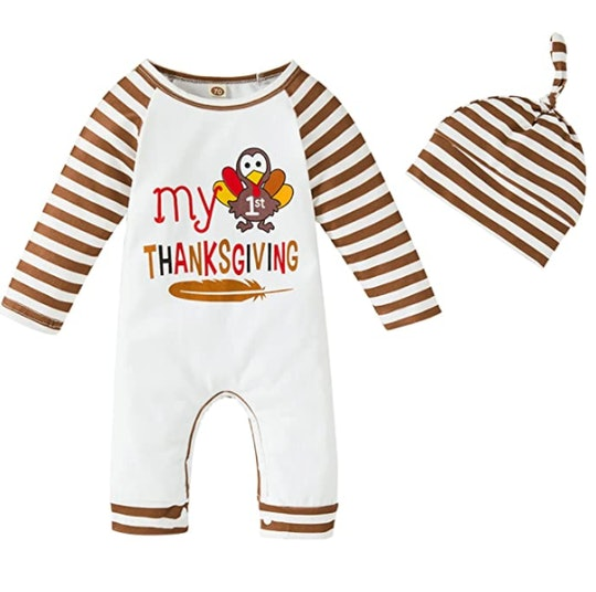 Striped romper with turkey motif is a classic my first thanksgiving outfit