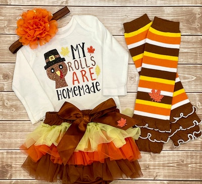My First Thanksgiving Baby Girl Outfit