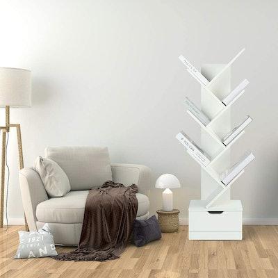 TINSAWOOD 7-Shelf Bookcase Tree Rack