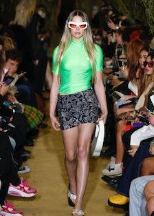 A model walks the runway during the Coperni fashion show during Paris Women's Fashion Week Spring/Su...