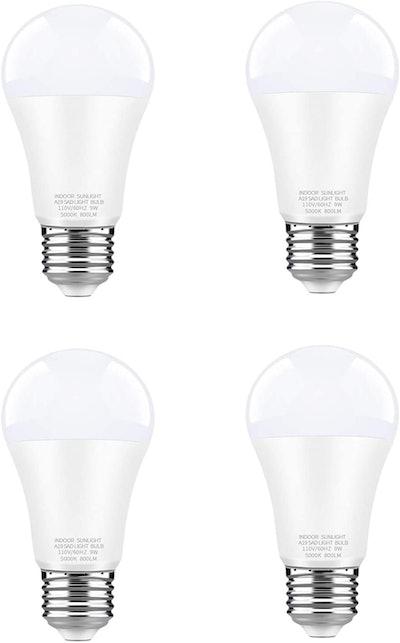 WhitePoplar 9W LED Full Spectrum Light Bulb (4-Pack)