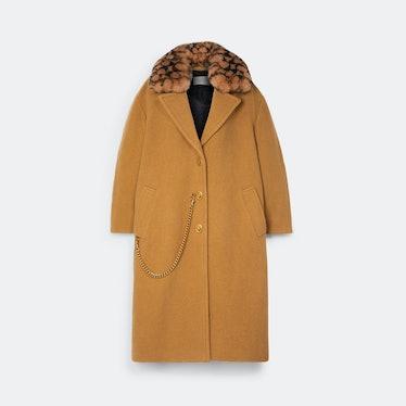 Jennifer Lopez X Coach wool overcoat.