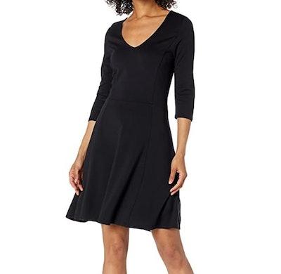 Lark & Ro Three Quarter Sleeve V-Neck Fit & Flare Dress
