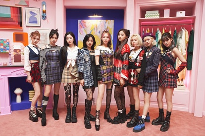 """TWICE in outfits from their """"The Feels"""" music video."""