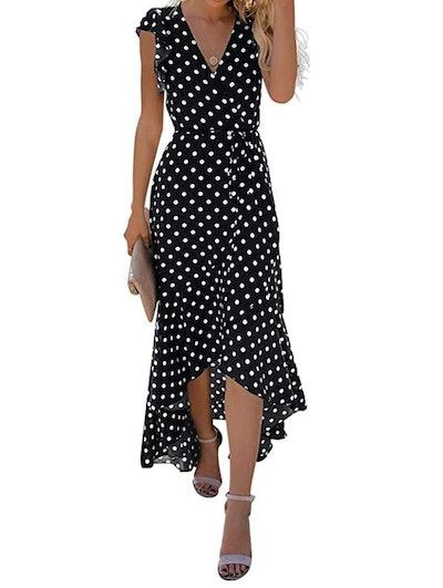 GRECERELLE Cross V Neck Flowy Maxi Dress