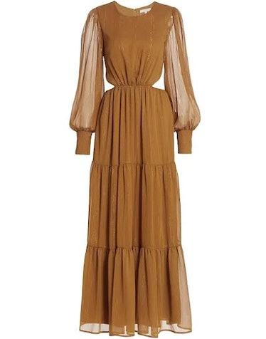Wayf's saffron-colored tiered cutout maxi dress.