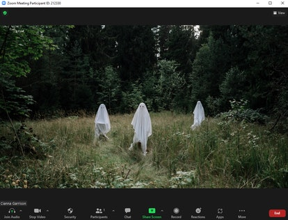 These scary Zoom backgrounds include ghostly figures.