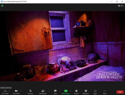 These scary Zoom backgrounds include a creepy kitchen that looks like a murder scene.