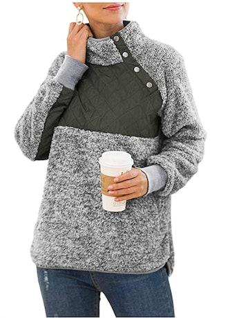 VIISHOW Quilt Turtleneck Fleece Pullover