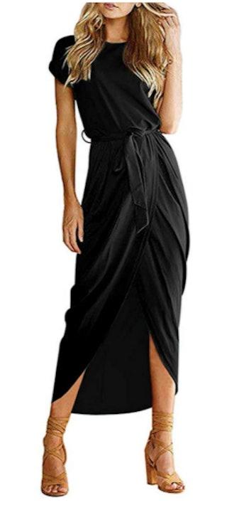 Qearal Short Sleeve Belted Maxi Dress