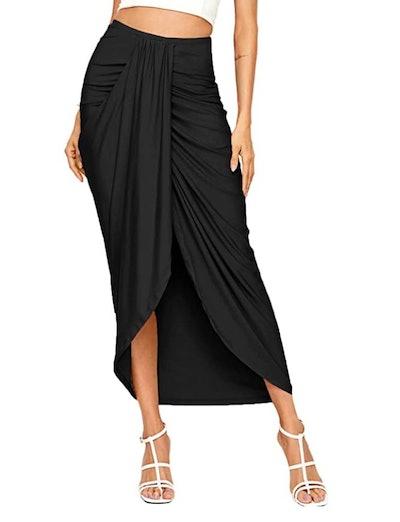 SheIn High Waist Draped Maxi Skirt