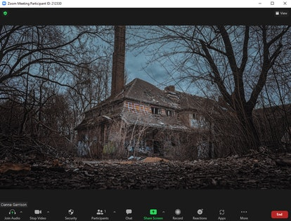 These scary Zoom backgrounds include abandoned haunted houses.