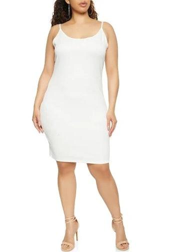 Plus Size Cami Bodycon Dress - White